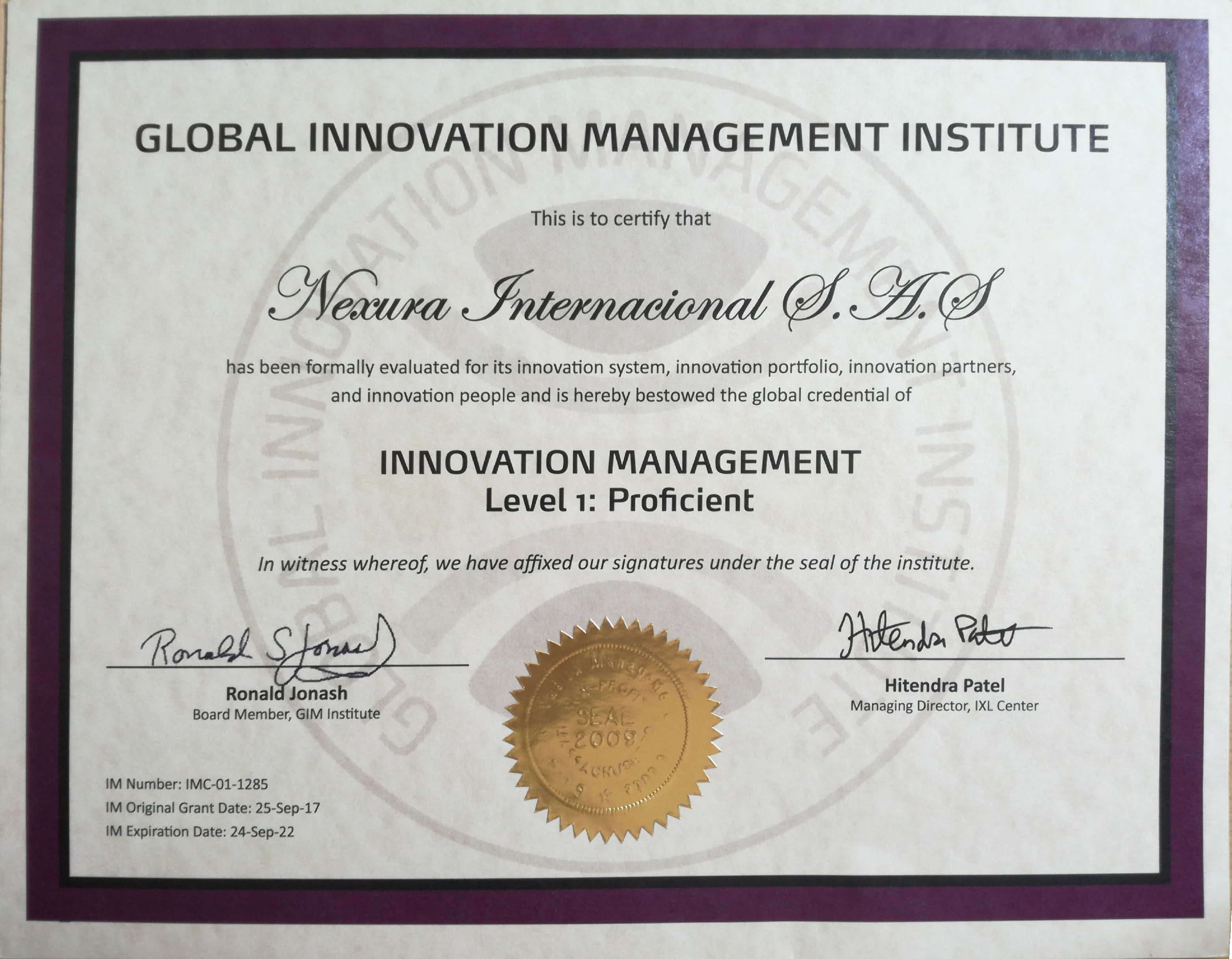 Certificado Innovation